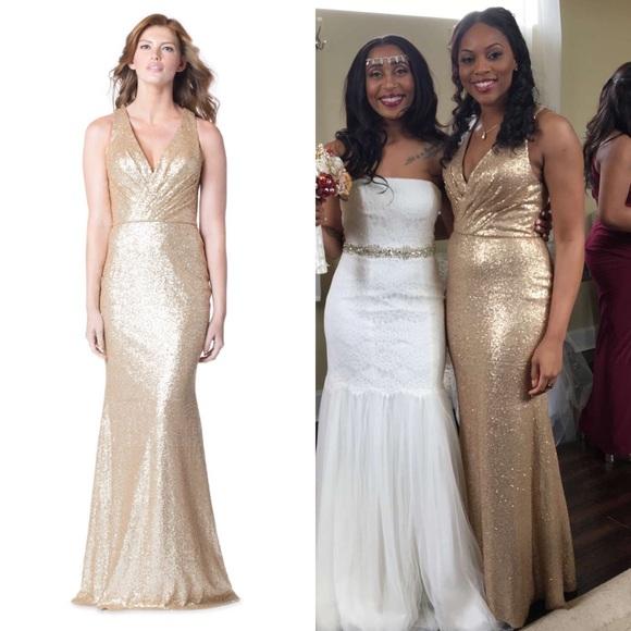 448c4de786 Bari Jay Dresses   Skirts - Bari Jay sequin bridesmaids dress Gold 1601